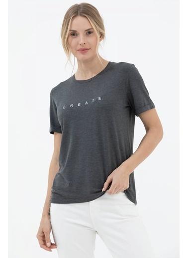 Sementa Baskılı Sıfır Yaka Basic Tshirt - Antrasit Antrasit